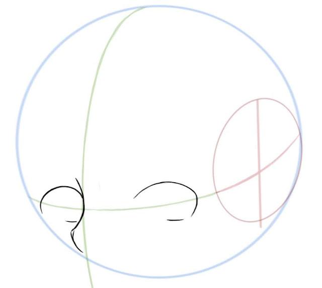 Dessiner des yeux manga de côté: dessiner les contours des yeux