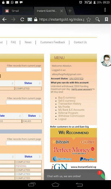 Opening an instant gold (e-currency) account