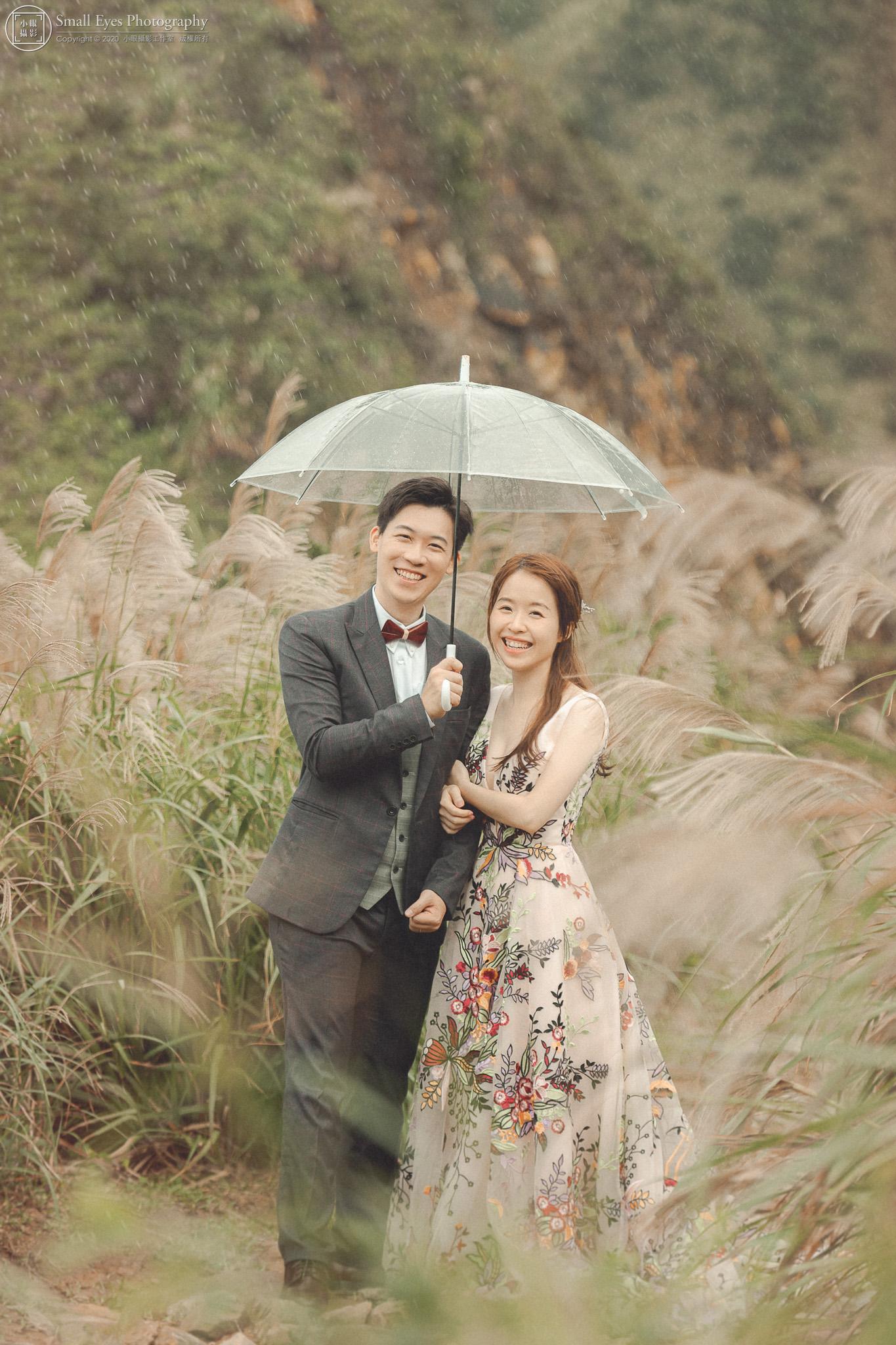 小眼攝影,自助婚紗,婚攝,婚紗攝影,新秘瓜瓜,吉兒婚紗,台灣,北部,北海岸,芒草,芒花,下雨