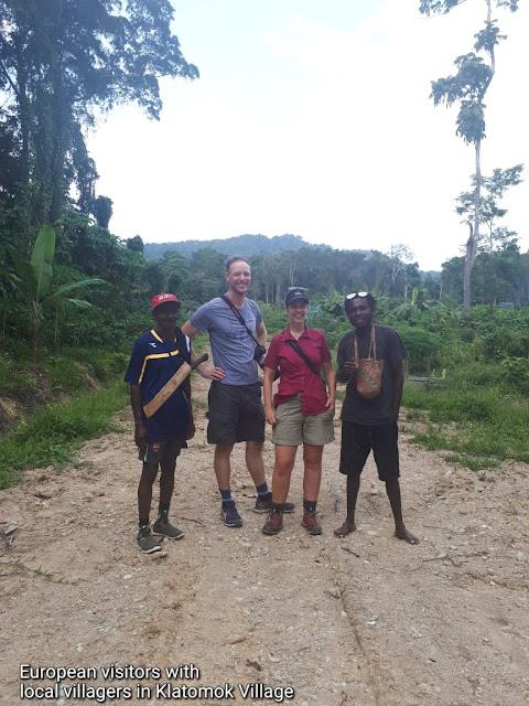 European tourists in Klatomok village of Sorong regency