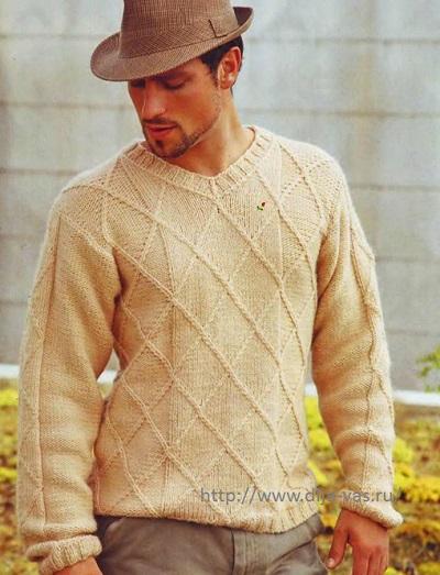 Пуловер для мужчины связанный спицами.