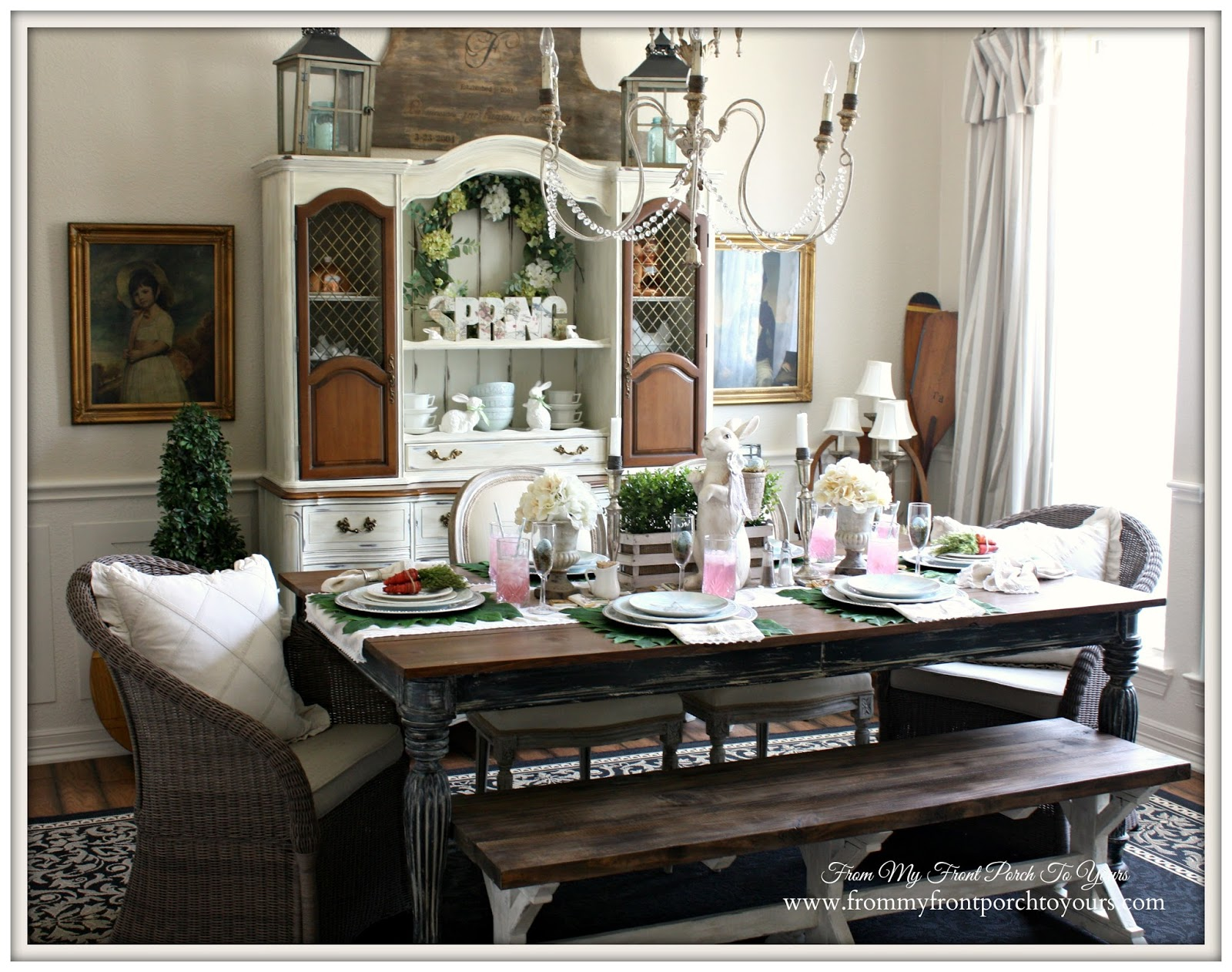 French Farmhouse Easter Dining Room-Two Tone Hutch- From My Front Porch To Yours