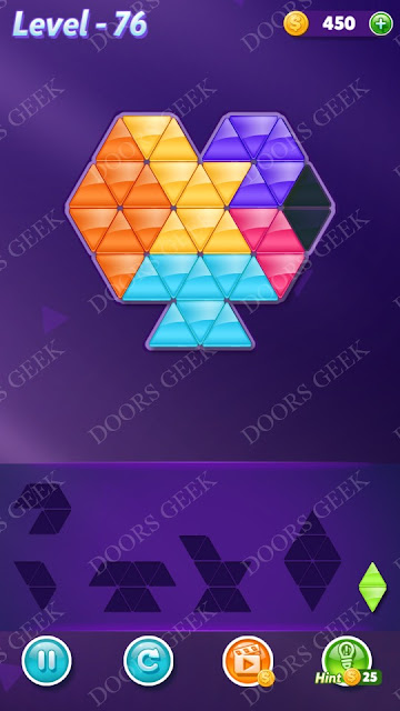 Block! Triangle Puzzle 6 Mania Level 76 Solution, Cheats, Walkthrough for Android, iPhone, iPad and iPod