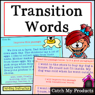 Teach kids how to write using transition words in test for smoother prose. #iteachla #iteachtoo #tpt