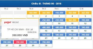 Bảng giá vé máy bay đi Đà Lạt tháng 6