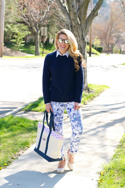 Summer Wind Preppy Navy White Printed Pants