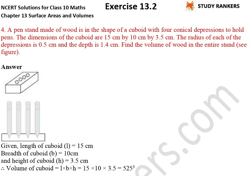 NCERT Solutions for Class 10 Maths Chapter 13 Surface Areas and Volumes Exercise 13.2 Part 4
