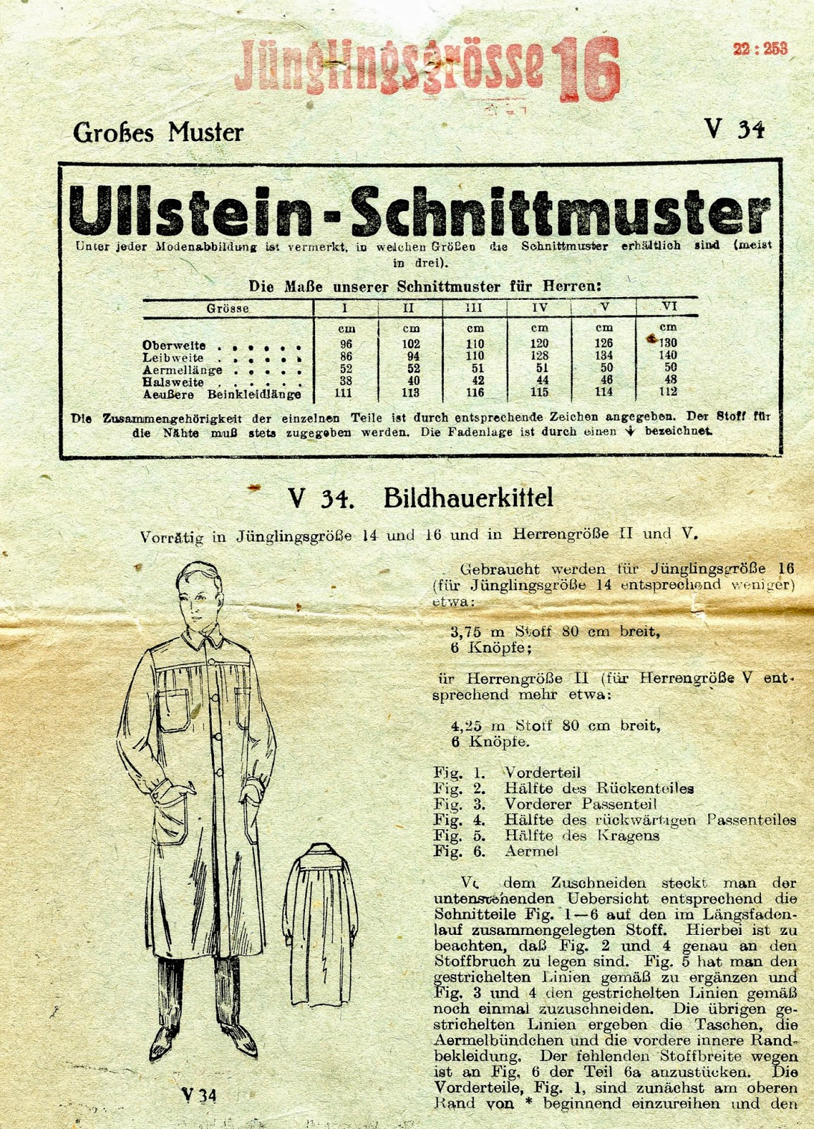 Side By Side 80 Cm Breit Unsung Sewing Patterns Ullstein Schnittmuster V 34 Bildhauerkittel