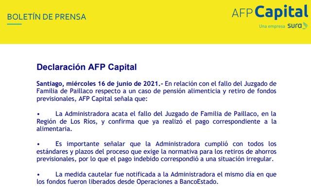 Declaración de AFP Capital sobre fallo del Juzgado de Familia