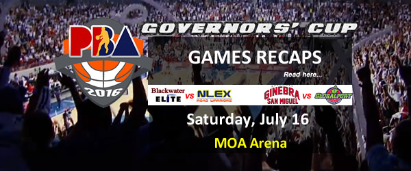 List of PBA Games Saturday July 16, 2016 @ MOA Arena