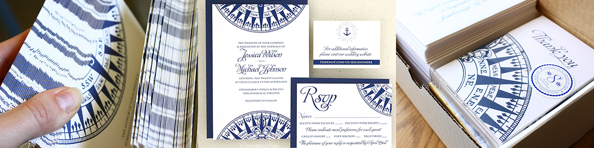 Nautical Wedding Invitations with Compass from Concertina Press in Navy Blue and White