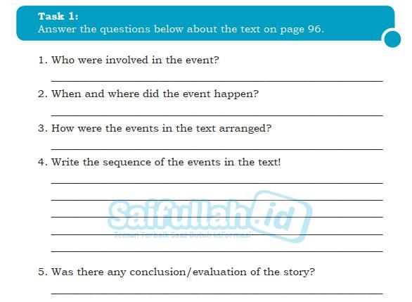Kunci Jawaban Text Structure Task 1 Chapter 8 Hal 114 Bahasa Inggris Kelas 10
