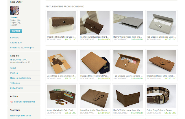 紙樣手創設計在Etsy 的網路商店 100筆成交截圖