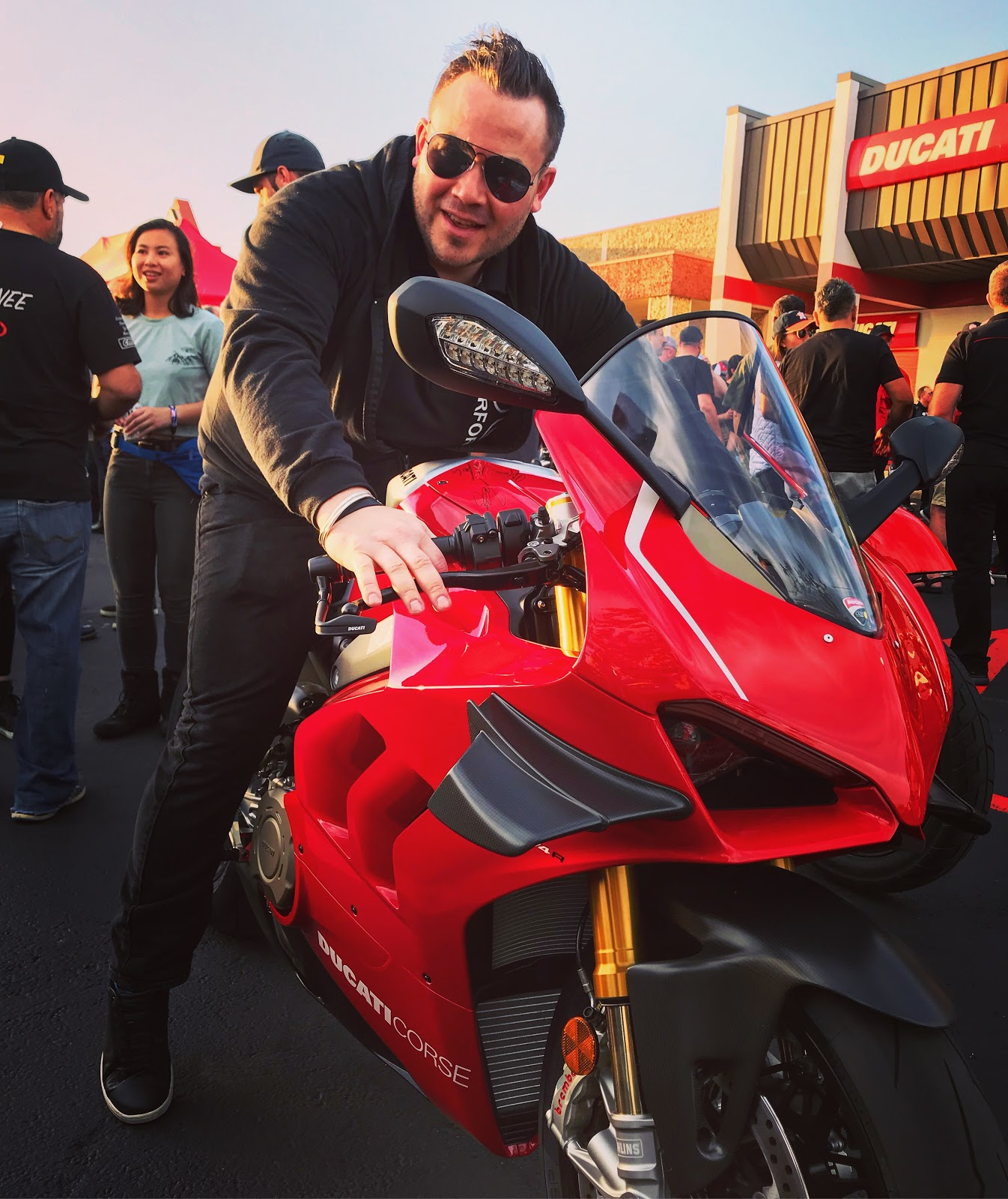 Tigh Loughhead of Gotham Ducati Desmo Owners Club at Ducati Austin MotoGP Party on a Panigale V4R