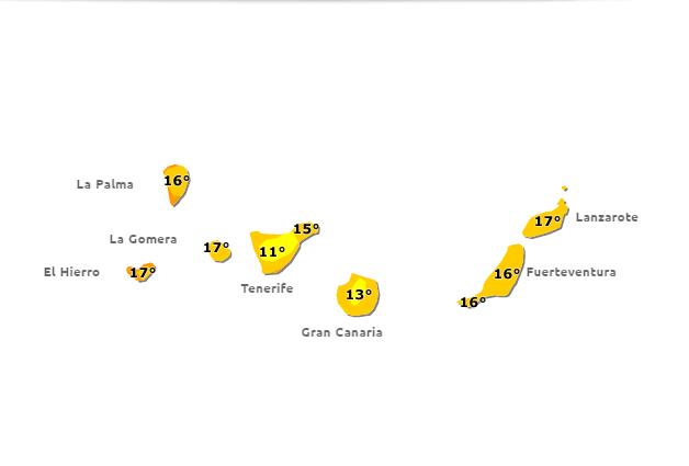 bajada temperaturas Canarias jueves 18  - viernes 19 febrero
