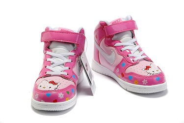 Nike High Tops Hello Kitty Shoes For Kids Pink Flower Pattern ... 835e520177