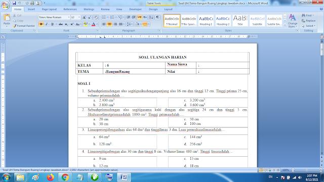 Soal Matematika Kelas 6 Bangun Ruang dan Kunci Jawaban Kurikulum 2013