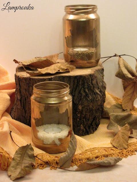 Φθινοπωρινή κατασκευή-βάζο φαναράκι με σχέδιο φύλλο.