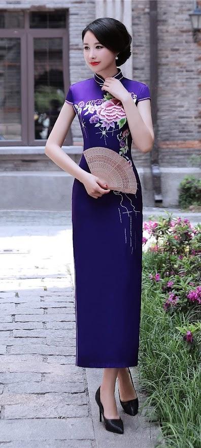 Purple Cheongsam Qipao Dresses For Women