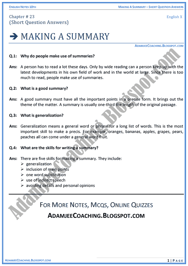 Adamjee Notes For Class 12 English Summary