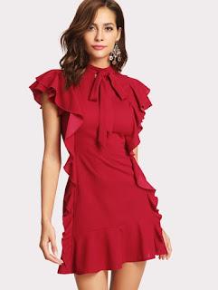 SHEIN Vestido rojo con adorno de volantes