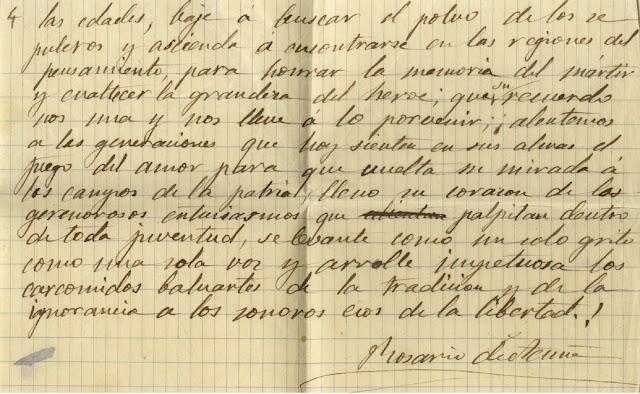 Última página del manuscrito (Archivo Luis París, Centro de Documentación  y Museo de  las Artes Escénicas, MAE)