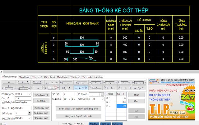 Phần mềm thống kê thép TIP 3.5.