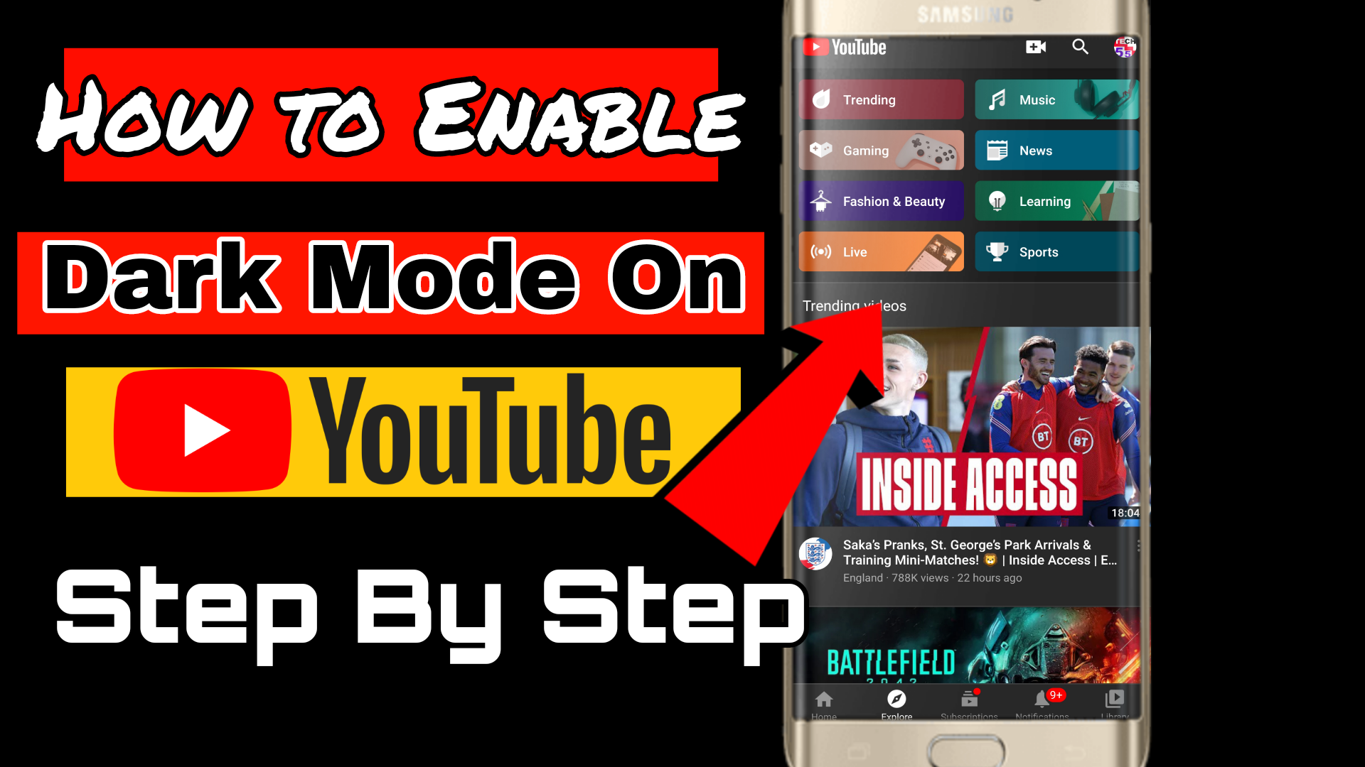 How to turn on dark mode on youtube mobile