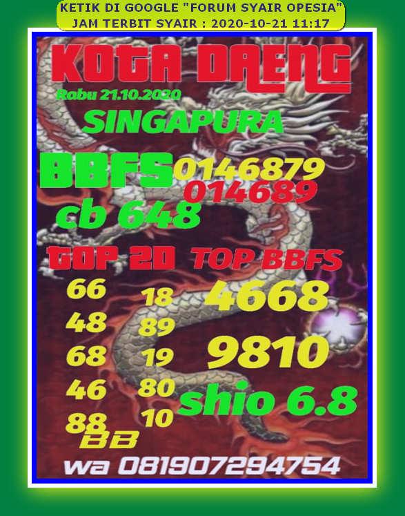 Kode syair Singapore Rabu 21 Oktober 2020 88