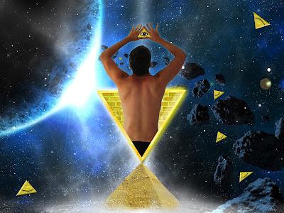 Arte visual edito fotografico surrealismo hipster lleno de triangulos y ojos illuminati con piramides cairo y el espacio exterior meteoritos