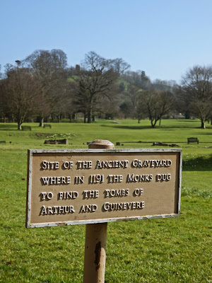 Sign about King Arthur at Glastonbury Abbey
