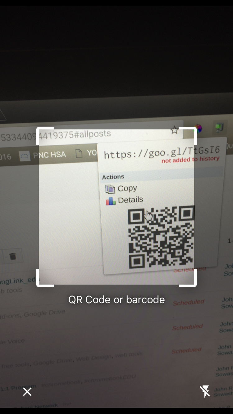 Lire qr code chrome android