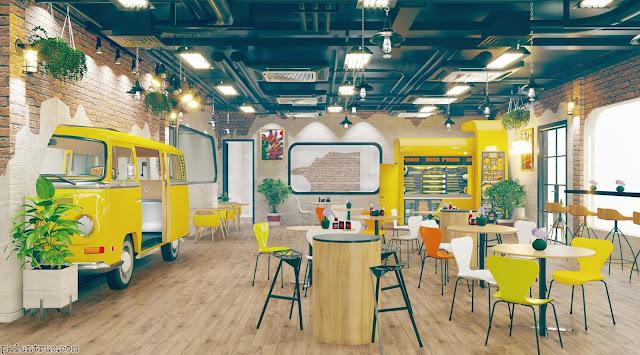 Không gian nội thất toàn cảnh nhà hàng mô hình xe bus