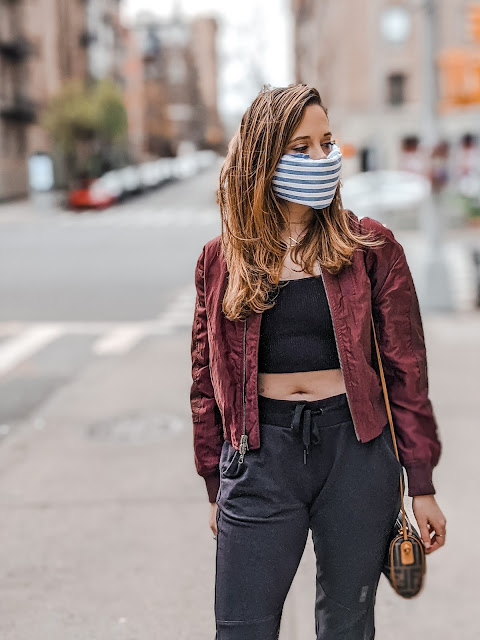Nyc fashion blogger Kathleen Harper's no-sew bandana face mask tutorial.