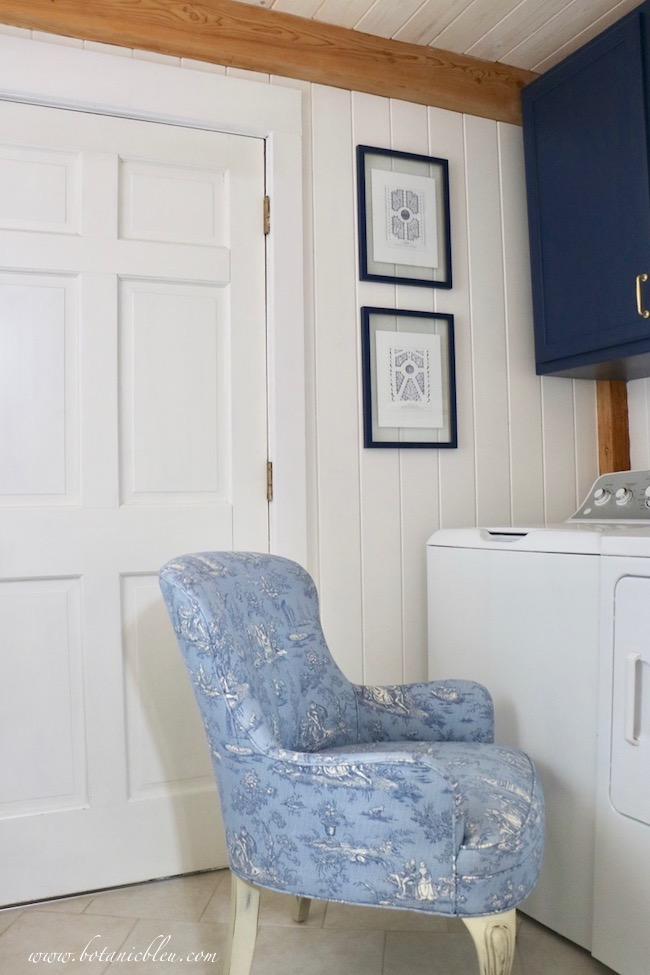 French Country Laundry ORC™ Reveal Blue Toile Chair with white tongue and groove walls