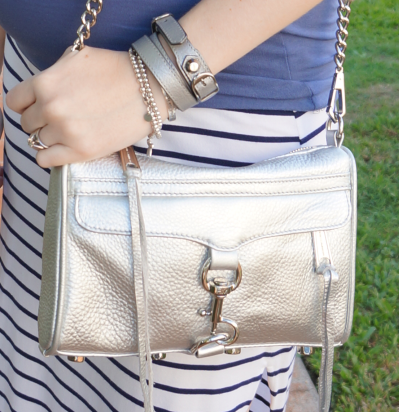 Away From Blue Rebecca Minkoff metallic silver mini MAC bag w Balenciaga pearly grey wrap