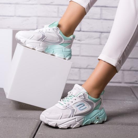 Adidasi moderni albi cu talpa groasa din panza de femei