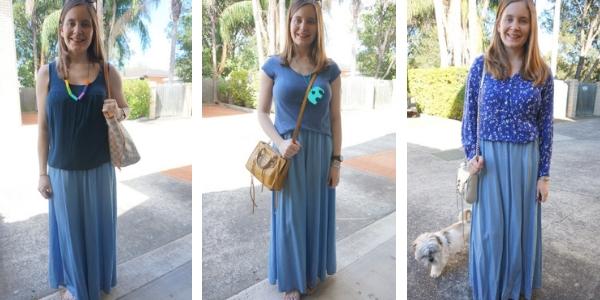 monochrome maxi skirt outfit ideas 3 ways to wear | awayfromtheblue
