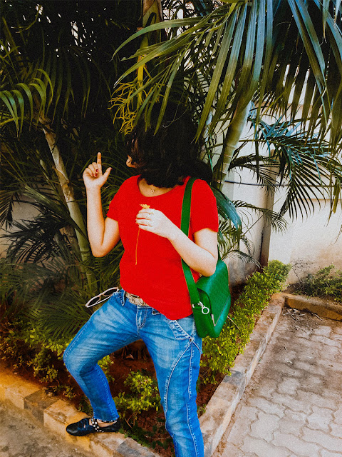 Next Red basic T-Shirt , Levi's Denim ,Zara ballerinas,  acoolwaytostylebasic, styleblogger