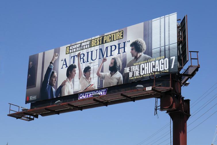 Trial of Chicago 7 Oscar billboard