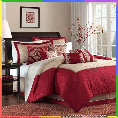 غرف نوم للعرسان باللون الأحمر