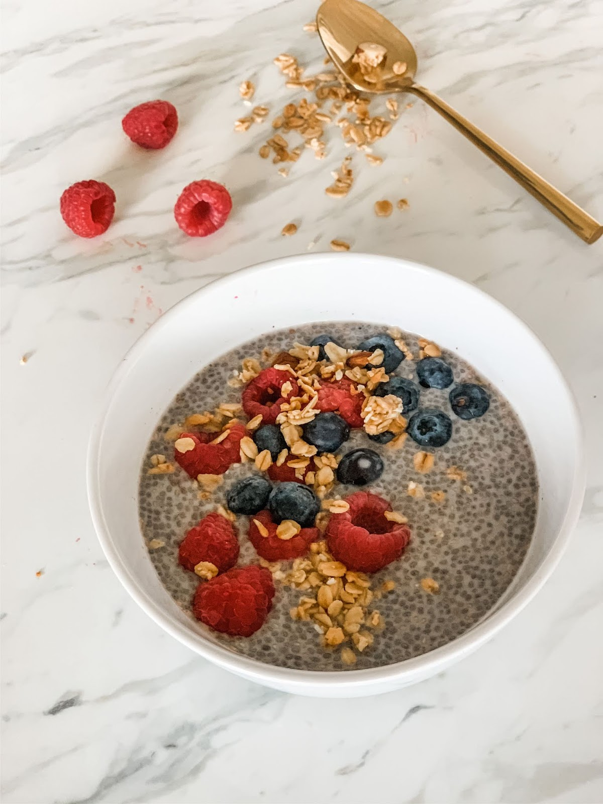 Chia seeds with raspberries, granola, blueberries