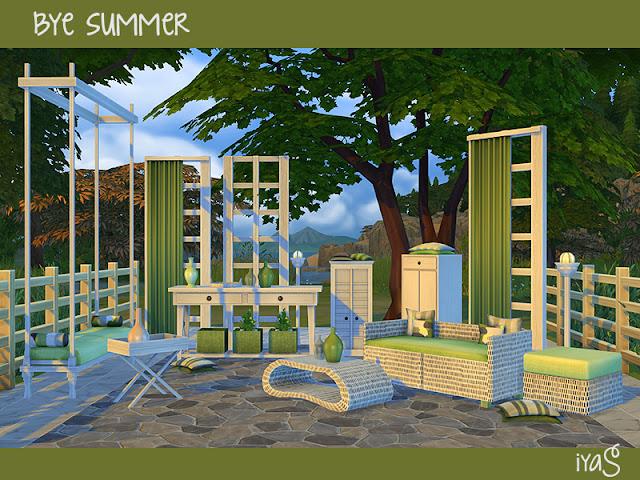 Bye Summer Пока лето для The Sims 4 Наружный набор включает в себя 18 предметов: два шкафа с подушками, журнальный столик, перегородка и перегородка с занавеской, торцевой стол, напольные подушки, кресло для сидения с четырьмя подушками, стол в прихожей, уличный светильник, качели на сиденье для любви, пуф, плетеный поднос и пять видов ваз. Набор имеет 3 цветовых вариации. Автор: soloriya