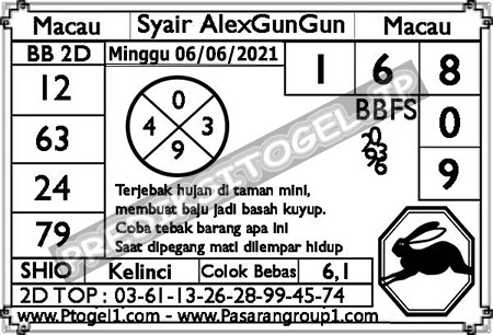 Syair Alexgungun Togel Macau Minggu 06 Juni 2021