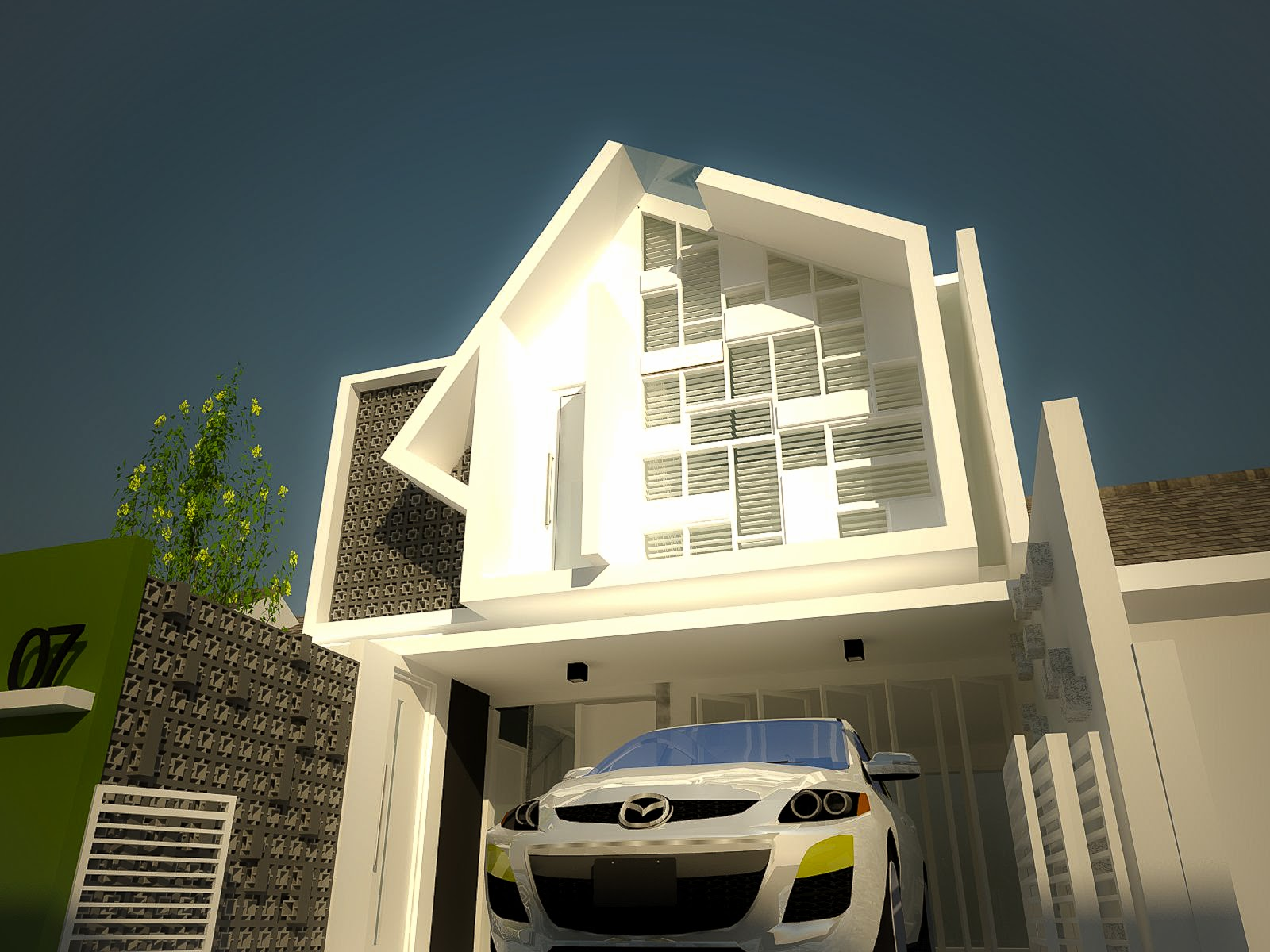 Modern Muslim House With Unique Calligraphic Facade | My design Homes - Indonesia Modern House Design