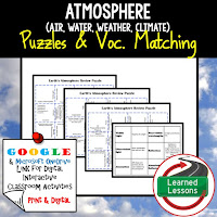 Atmosphere, Earth Science Review Puzzles BUNDLE, Interactive Digital Notebook, Google Link, or PRINT Version, Test Prep, Unit Review, Vocabulary Activity, Earth Science Puzzles, Vocabulary, Test Prep, Unit Review