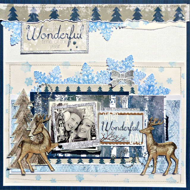 Wonderful scrapbook layout Tracee Provis Bo Bunny Sleigh Ride Snowflake stamp 03