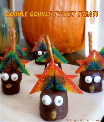 Gobble Gobble Turkey Treats, a fun no-bake snack perfect for any Thanksgiving dessert table. | Recipe developed by www.BakingInATornado.com | #recipe #chocolate #Thanksgiving
