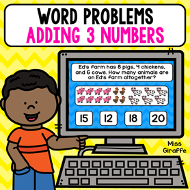 Adding 3 numbers word problems with pictures to help kids have a fun visual for the math they are doing