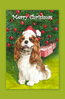 christmas card, cavalier king charles spaniel, watercolour, artist, Jillian Crider